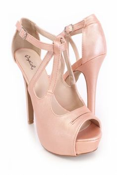 Nude Peep Toe Strappy Heels Faux Leather
