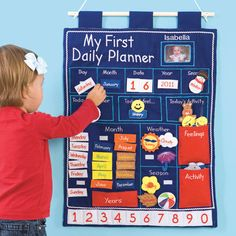 Looks fun and perfect for our little ones! Wall Hanging Daily Planner for Kids! Now our charming, embroidered first planner offers even MORE! It not only teaches the calendar, seasons, and weather, it helps kids plan their day and express their moods. Toddler Calendar, Kids Calendar, Calendar Wall, Calendar Time, Daily Calendar, Planning Calendar, Daily Planning, Kids Planner, Wall Planner