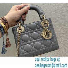 Lady Dior Mini Bag in Cannage Lambskin Gray 2021