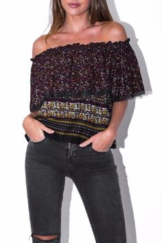 This Ziggy Flounce Rufflet Top by Muche et Muchete is to die for.Great for jeans or shorts. Can be worn off the shoulders.   Flounce Ruffle Top by Muche et Muchette. Clothing Miami, Florida