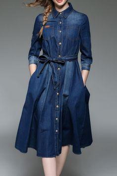 30 Ideas Skirt Long Outfit Denim Vests For 2019 Long Shirt Dress, Denim Shirt Dress, Denim Outfit, Long Denim Dress, Long Shirts For Girls, Denim Fashion, Hijab Fashion, Modest Dresses, Casual Dresses
