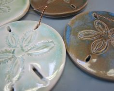Two Handmade Sand Dollar Porcelain Decorations by madmud on Etsy, $18.00