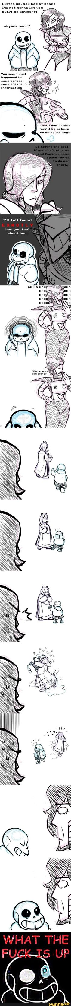 sans and mettaton - what the fuck is up, mettaton??!!<----I don't ship toriel and sans, but it's funny
