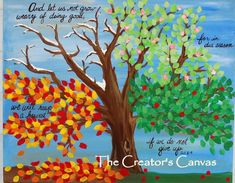Items similar to Four Seasons Tree Acrylic Painting Scripture Bible Verse Spring Summer Fall Winter on Etsy
