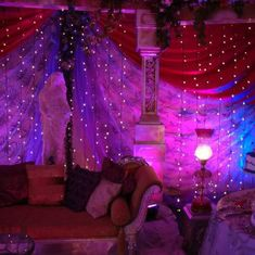 hippy room 832954893569162551 - LED Lighted Strands Curtain with Cool White Lights — 12 Feet Long Source by bexjacobsonn Hippy Room, Hippie Room Decor, Boho Decor, Apartment Decoration, Hangout Room, Chill Room, Neon Room, Beaded Curtains, Hippie Curtains