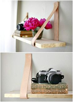 DIY Wood & Leather Suspended Shelf - 109 Easy Ideas to Build DIY Shelves for Your Home Decor - DIY & Crafts