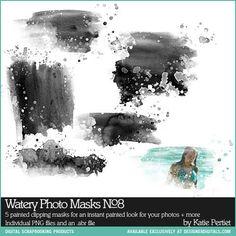 Watery Photo Masks No. 08 - Photoshop Brushes DesignerDigitals