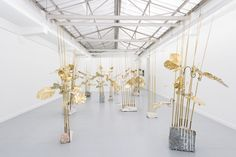 Medusa, 2014. Brass, stone. Dimensions variable. Installation view, Galerie…