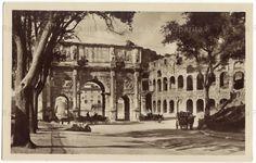 Arco di Costantino e Colosseo da via San Gregorio. Anno: Primi del 900