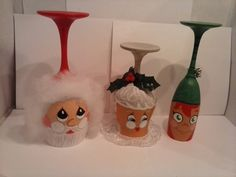 Wine Glass Christmas Candle Holders
