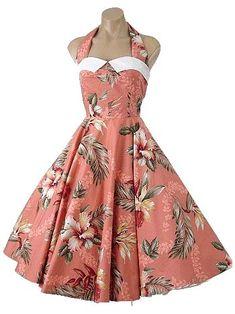 1950s Style Hawaiian Print Halter Swing Dress-50s Vintage Reproduction Dresses