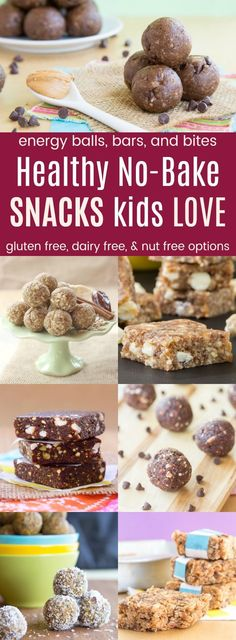 Healthy No-Bake Snacks Kids Love - recipes for energy balls and bites, snack bars, and granola bars to pack in a lunchbox or for after school snacks. Many have gluten free, dairy free, nut free, and peanut free options.