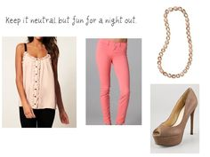 Coral colored Jean nighttime look