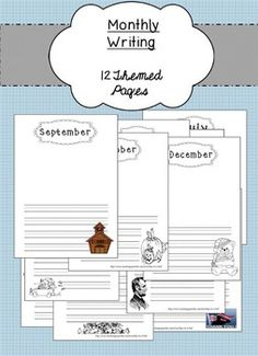12 Themed Writing Pages! http://www.teacherspayteachers.com/Product/Monthly-Writing-Paper-1629258