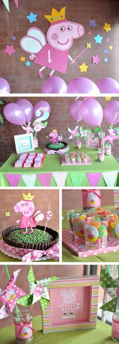 Cumpleaños infantil Peppa Pig Princesa --- love the cake Fiestas Peppa Pig, Cumple Peppa Pig, Peppa Pig Pinata, 4th Birthday Parties, Birthday Fun, Peppa Pig Princesa, Pig Birthday Cakes, Birthday Decorations, Pig Decorations