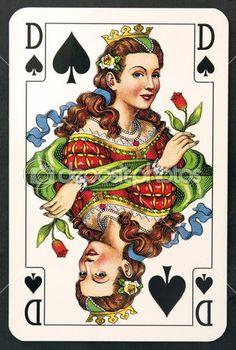 Regina carta da gioco del Club — Immagini Stock #5318539