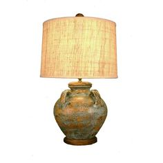 Italian Blue And Gold Pottery Lamp Zeugma Import Shaded Table Lamps Lamps