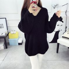 2017 Autumn Winter Loose Thicken Pullover V Neck Sweater F Size Mid-Length Knit Sweater Rabbit Wooen Blend Long Sleeve Sweater Women 2018 from jiasiyun, $32.61   DHgate Mobile