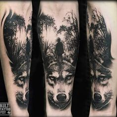 "282 Likes, 7 Comments - Piotr Bemben (@piotrbemben_tattoo) on Instagram: ""Wolf and forest Done at @kulttattoofest #tattoo #tattoos #tattooed #tats #tattooer #tattooartist…"""