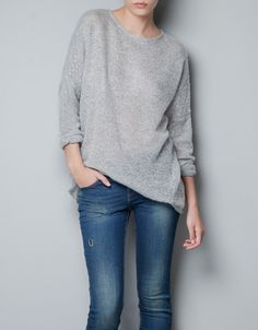 SWEATER WITH SPARKLES ON THE SLEEVES - Knitwear - TRF - ZARA United States