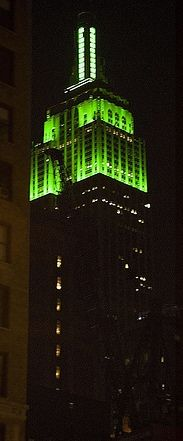 New York lit emerald green, Empire State Building