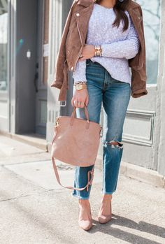 Suede Jacket for Spring / Spring Outfit Idea via Glitter & Gingham / BaubleBar Earrings / Boyfriend Jeans