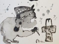 Maño en las urnasAlto: 30cm. aprox. Ancho:40 cm. aprox. Historia del cuadro: Un maño ejerciendo su derecho al voto. Una visión diferente de las elecciones. Técnica: Tinta china sobre papel.