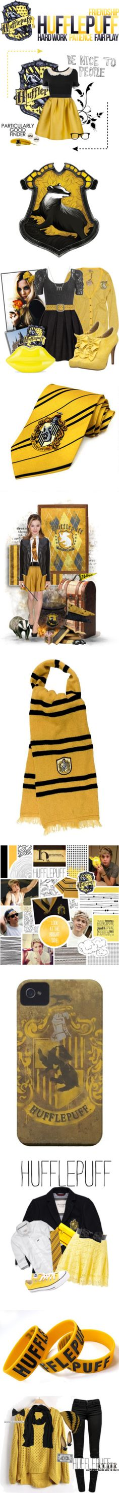 """Hufflepuff Pride"" by k-strautz ❤ liked on Polyvore"