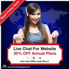 Don't miss BLACK FRIDAY Hot Deals from Provide Support! Get your website equipped with a professional Live Chat/Real-time Visitor Monitoring software for faster and smarter customer service. 30% OFF all 1-year plans up to December 2! Claim your discount today in our Live Chat: http://www.providesupport.com/christmas-sale.html #livechat