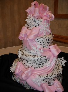Wedding Cake Photos Cakes Piping Pink Drape Tamaras