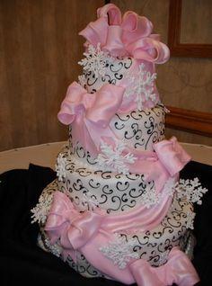 Wedding Cake Photos Cakes Piping Pink Drape Tamaras