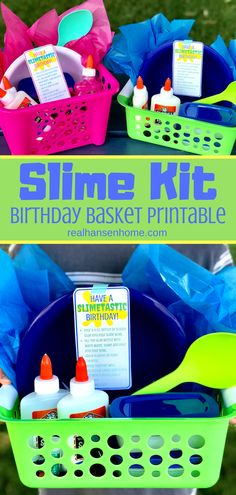 This Slime Kit Kids Birthday Gift Basket is an easy DIY gift for kids who love slime! Make your own slime with this birthday recipe printable and all the products for a great time!
