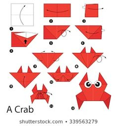 fácil crianças passo a passo step by step instructions how to make origami A Crab. step by step instructions how to make origami A Crab. Origami Simple, Easy Origami For Kids, How To Make Origami, Useful Origami, Origami Instructions Easy, Origami Easy Step By Step, Origami Tutorial, Origami Boot, Origami Folding