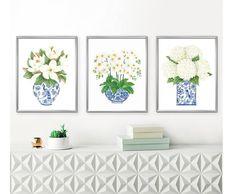 Blue and White China DIGITAL FILE Magnolia Hydrangea print | Etsy Plywood Furniture, Modern Furniture, Furniture Design, Hollywood Regency, Blue White Kitchens, Kitsch, Blue And White Vase, White Wall Art, Décor Boho