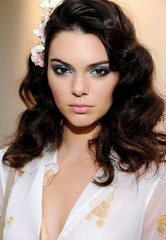 Kendall Jenner made the case for '70s era blue eye shadow at the Diane von Furstenberg ss/16 show
