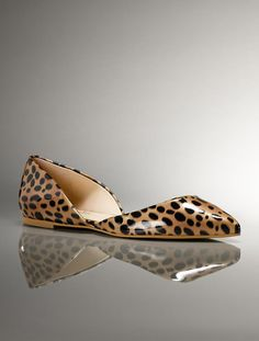 """Talbots - Nessa D'Orsay Glossy Cheetah Print Flat 