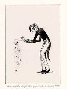 """""""Le Chef d'orchestre. Adagio."""", Encre de Chine sur film rhodoïd, 18X24 cm, Série limitée à 100 exemplaires, 35€ (cadre noir, offert)"""