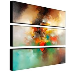 Bring color and style into your home with this set of three modern art pieces. The three pieces come together to form a piece of abstract art that has an almost surreal quality with bright and neutral shades.