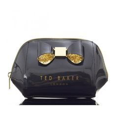 Ted Baker Glitter Bow Small Wash Bag (61 BGN) ❤ liked on Polyvore featuring beauty products, beauty accessories, bags & cases, dop kit, wash bag, makeup purse, glitter makeup bag and toiletry kits
