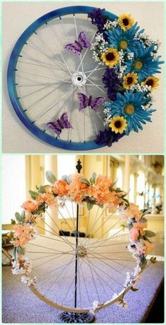 DIY Bicycle Wheel Wreath - DIY Ways to Recycle Bike Rims mehr zum Selbermachen a. DIY Bicycle Wheel Wreath - DIY Ways to Recycle Bike Rims mehr zum Selbermachen auf Interessante-ding. ideas for the garden Recycled Crafts, Diy And Crafts, Arts And Crafts, Recycled Garden, Recycled Decor, Creative Crafts, Decor Crafts, Diy Crafts Spring, Diy Creative Ideas