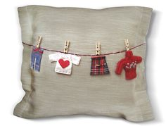 Handmade Personalized Pillow with Mini Red Clothes on by yastikizi, $79.00