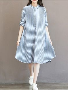Specification: Sleeve Length:Long Sleeve Neckline:Turn-down Collar Style:Casual,Sweet,Mori Length:Knee Pattern:Striped Silhouette:A-Line Material:Cotton,Linen Season:Summer Package included: 1* Dress