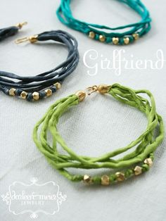 Girlfriend silk cord gold vermeil beads Friendship Bracelets