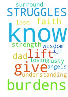 GOD I LIFT MY BURDENS TO YOU. YOU KNOW MY STRUGGLES - GOD I LIFT MY BURDENS TO YOU. YOU KNOW MY STRUGGLES . GIVE ME THE STRENGTH NOT TO LOSE MY FAITH, GIVE ME WISDOM AND UNDERSTANDING TO KNOW WHAT TO DO. PLEASE SURROUND ME AND MY DAD WITH YOUR LOVING ANGELS TO HELP US.TY IJN AMEN Posted at: https://prayerrequest.com/t/zOk #pray #prayer #request #prayerrequest