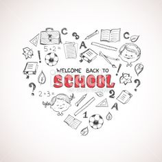 School objects in the shape of heart. Royalty Free Stock Vector Art Illustration
