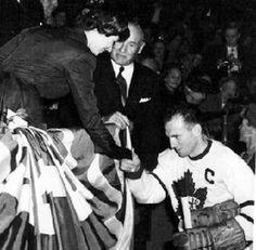 Teeder Kennedy greets Princess Elizabeth in 1951 at MLG
