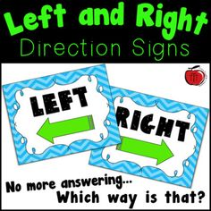 """Post these chevron patterned signs in your classroom to help your students remember which direction is left and which is right. They will save you from answering """"Which way is that?"""" over and over again! I suggest printing them on card stock and then laminating them for durability. Get matching CA... Left And Right, Directional Signs, Unit Plan, Beginning Of School, Interactive Notebooks, Task Cards, Math Centers, Teacher Newsletter, Teacher Pay Teachers"""