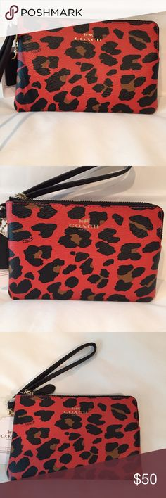 """Coach Wristlet Authentic Coach wristlet in red and black animal print. Features two interior card pockets and a black wrist strap.  Measures 6""""(w) x 4"""" (h) Coach Bags Clutches & Wristlets"""