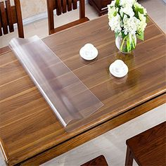 OstepDecor Custom Waterproof PVC Protector for Table/Desk Table Pads Table Covers With Multi Size Available, Clear x 48 Inches x Glass Dining Room Table, Table Desk, Glass Desk, Desk Chair, Wood Table, Circle Table, Plastic Table Covers, Desk Pad, Furniture Makeover
