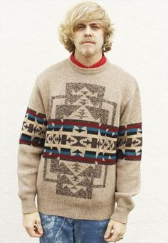 Vintage 80's Pendleton Aztec Pattern Knit Sweater | Marl yarn used with solids